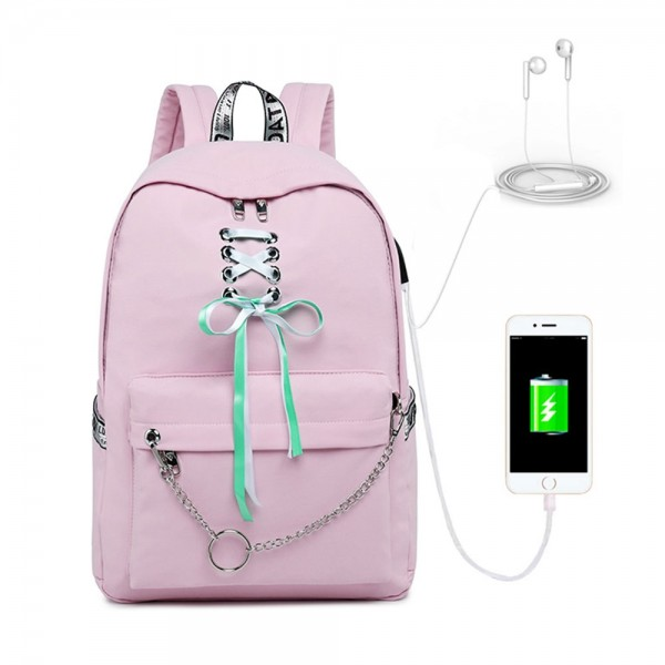 Women's Fashion Sporty Travel Backpack Laptop Daypack with USB Charging Port