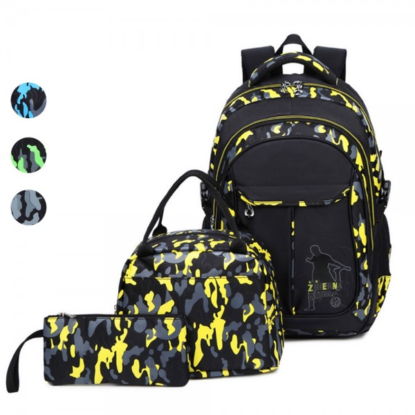 Classical Camo Backpack Sets Boys School Bag Casual Travel Daypack for Middle School College