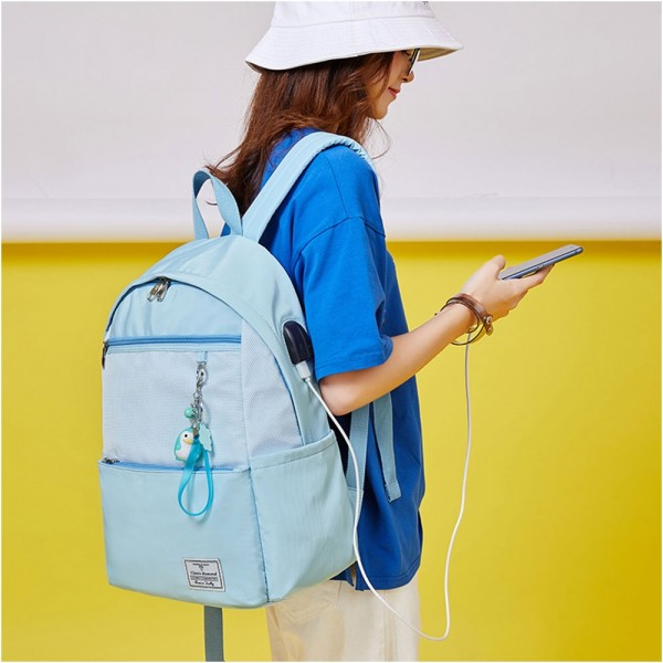 Girls' Casual Oversized Backpack with USB Charging Port