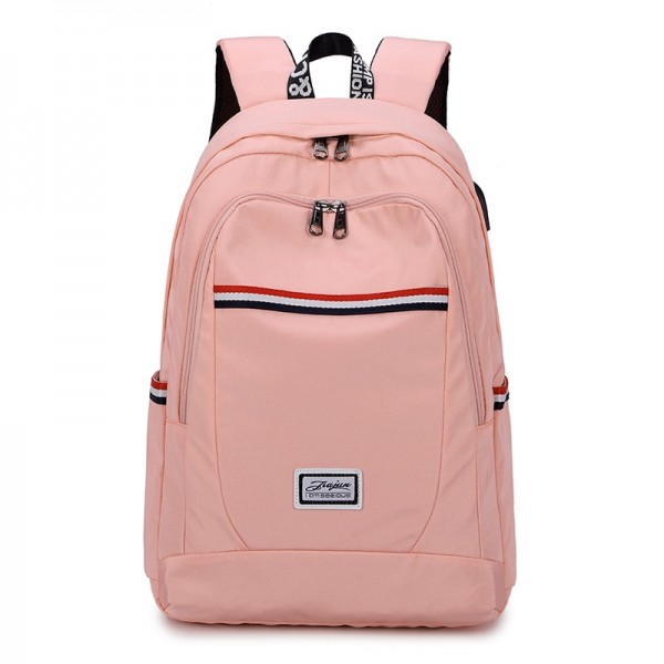 Girly Oxford Backpack with USB Charging Port Large Capacity Lightweight Bookbag for Middle School