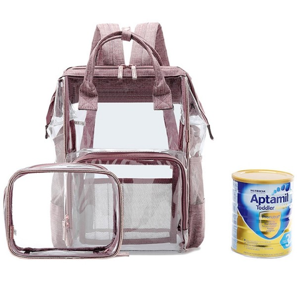 Clear Diaper Bag Backpack Set Fashion Transparent Baby Care Nappy Bag for Mum Outdoor Travel Bag