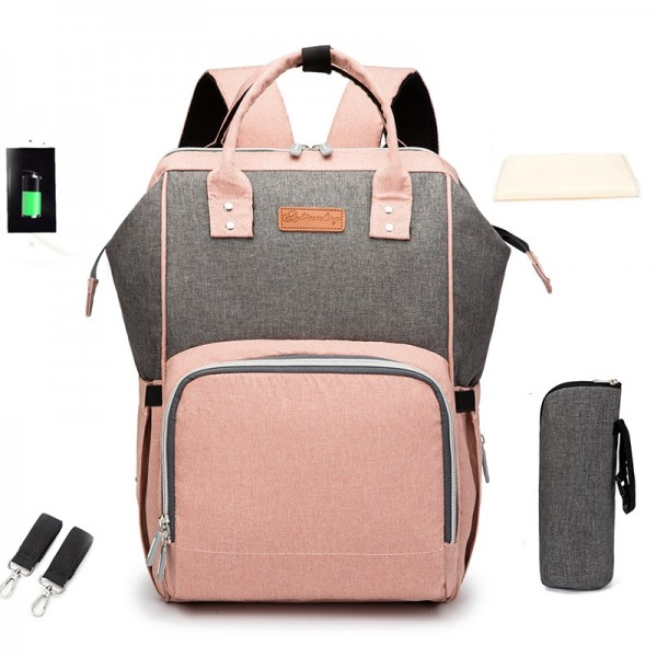 USB Charger Diaper Bag Backpack for Baby Care Waterpoof Travel Nappy Tote Bag Large Capacity Handbag