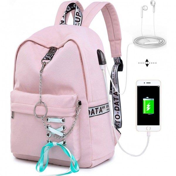 Pink School Backpacks for Girls Book Bag Kids Elementary Middle School Bag with Charger