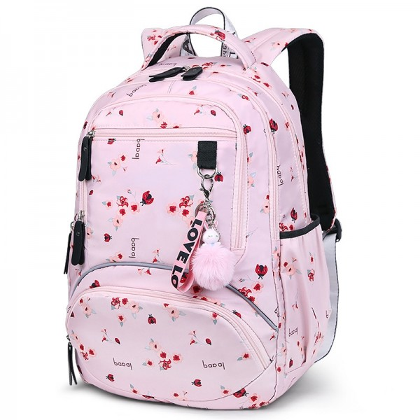 Pink Backpacks For Girls Primary Middle Students School Book Bags Top Quality with Toy