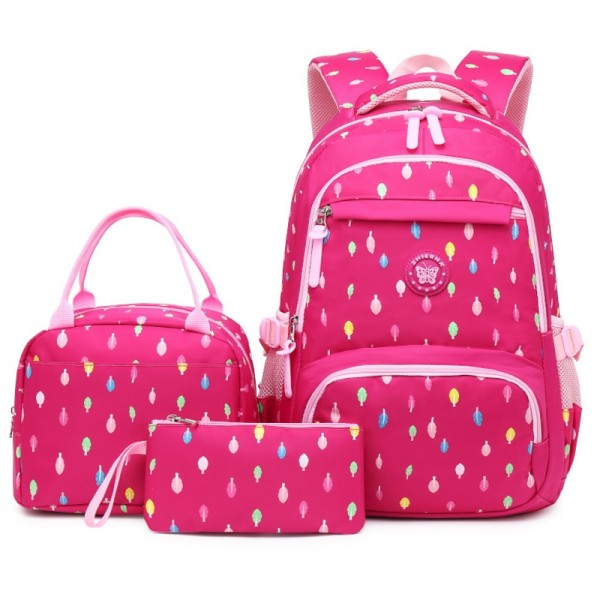 Girls Pink School Backpack Primary Student Book Bags with Lunch Bag Pencil Case