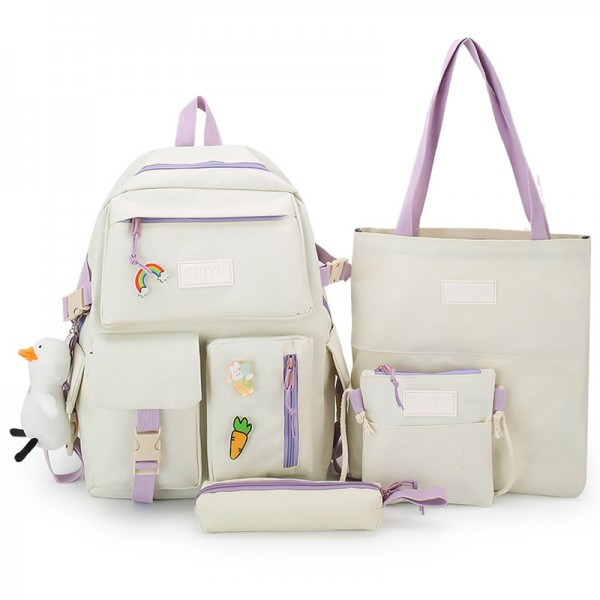Backpack for School Girls Durable and Cute Bookbag with 4 Pieces