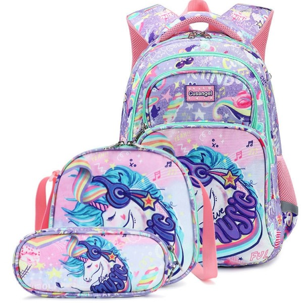 Unicorn Backpack For Girls School Book Bags with Lunch Bag and Pencil Case