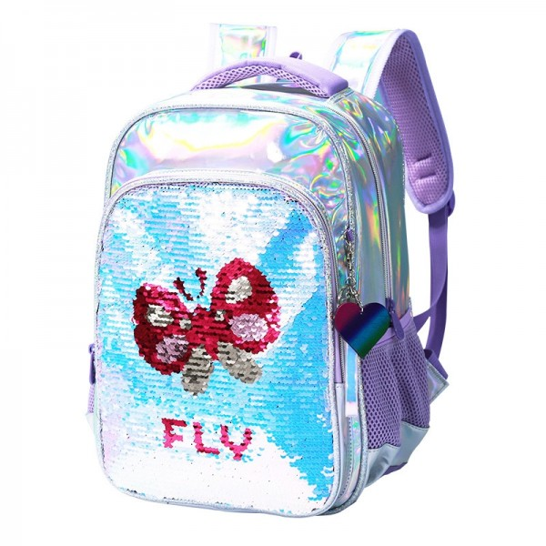 Butterfly Backpack for Girls Sequin Book Bags for Primary School