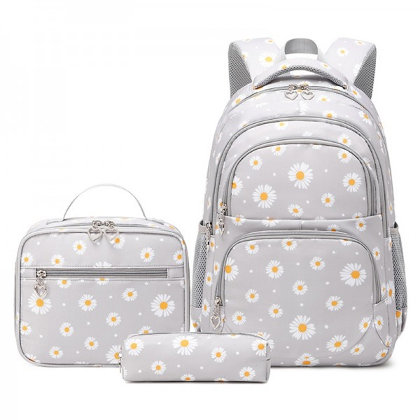 Daisy Bookbag School Backpack for Girls Large Capacity Kids Bags wth Lunch Bag