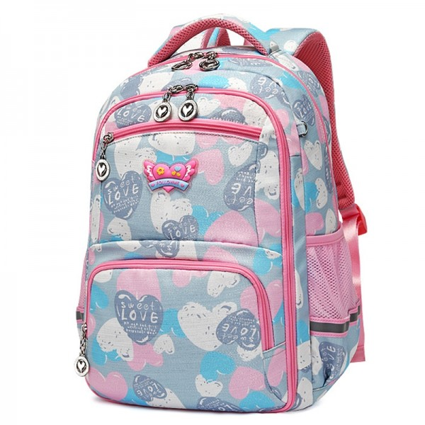 Girls Pink Backpacks for School, Lightweight Large Capacity Kids Book Bag Grade 1-5th