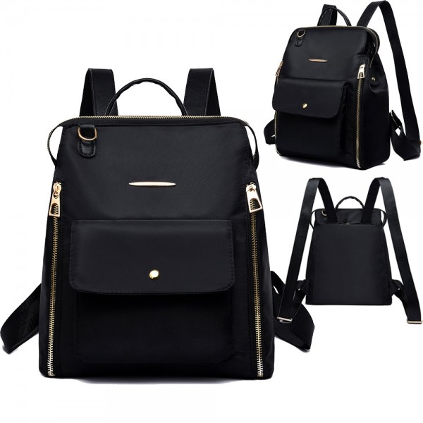 Trendy Oxford Backpack for Ladies Double Zipper Shoulder Bag Daily Commute Bag