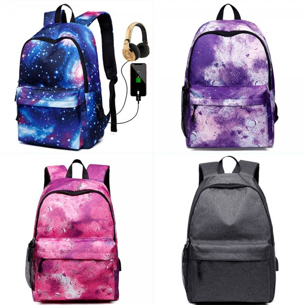 USB Charger Backpack for High School Cute Teens Lightweight Travel Bag
