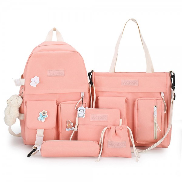 Cute Girls 5 Pieces Backpack Set Classical Canvas Bookbag Shoulder Bag with Wallet