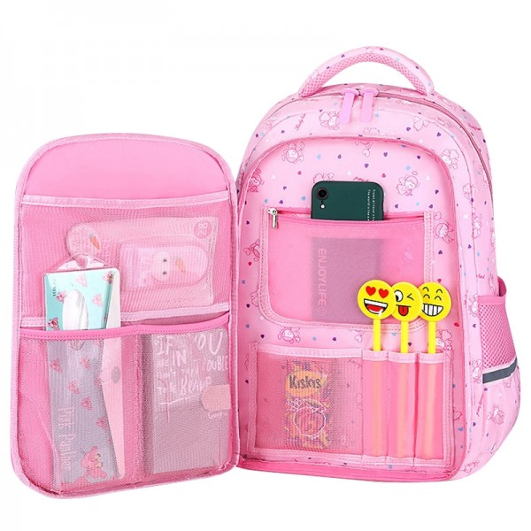 Cute Polk Dots Backpack for Primary Girls Elementary School  Princes Styles Large Capacity Waterproof Bookbag