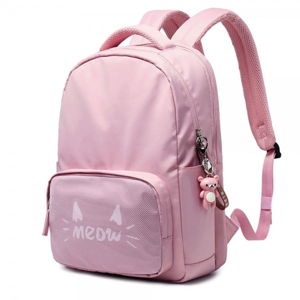 Trendy Water-resistant School Backpack for Girls Durable Oxford Large Cat Printed Travel Backpack