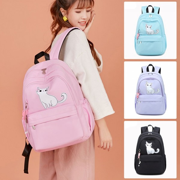 Cute Cat Printing Backpack for Middle School Large Capacity Pretty Girls Bookbag Daypack