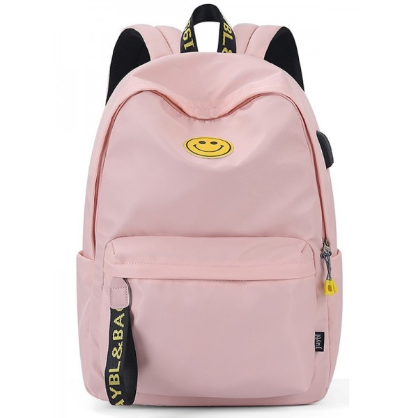 Girls Pink Backpack for Middle School Cute Lightweight Travel Bag with USB Charging Port