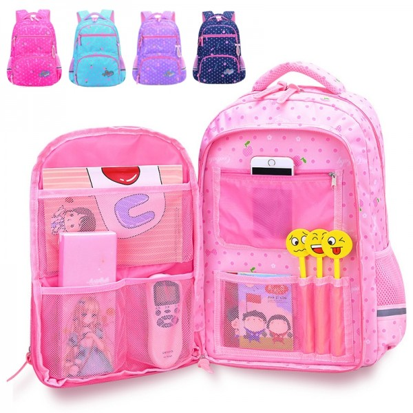 Cute Princess Style Dot Printed Lightweight Oversized Backpack for Primary School Kids