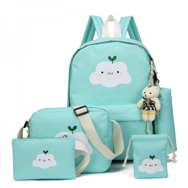 Girls' Canvas Cute Kitty Backpack Set 4pcs Backpacks Including Shoulder Backpack,Handbag and Storage Bag