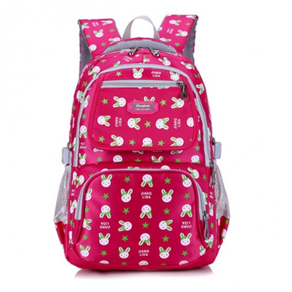 Lovely Cartoon Bunny Prints Oxford Waterproof Backpack for Primary Girls
