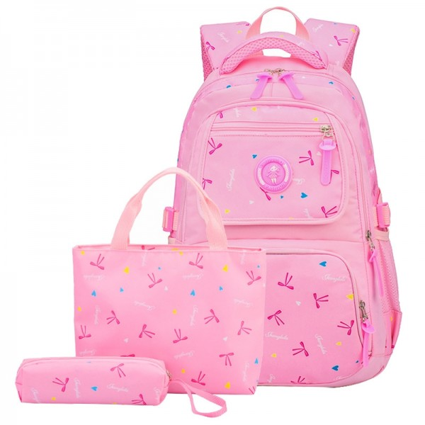 Cute Bowknot Elementary Girls School Backpack Heart Prints Primary  Bookbag with Lunch Bag Pencil Case