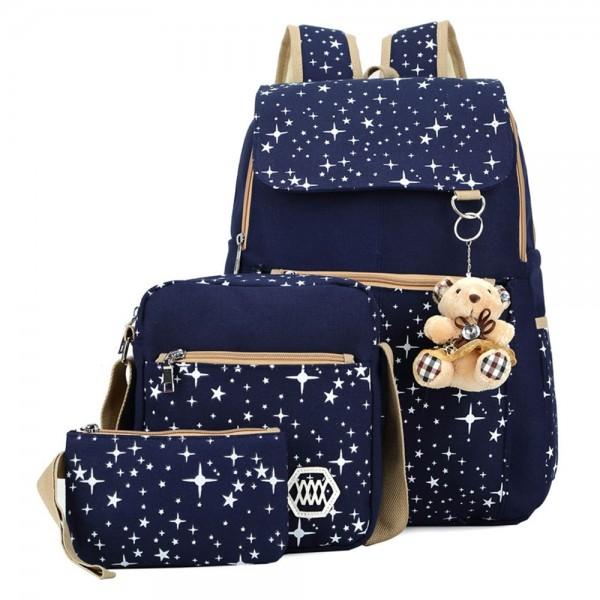 Girls Canvas Backpack Set 3 Pieces Star Patterned Bookbag Laptop School Bag