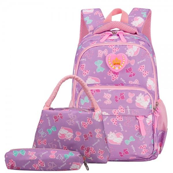 Girls School Bags Polka Dot  3pcs Backpack Kids Book Bag Lunch Bags Purse for Teen Girls