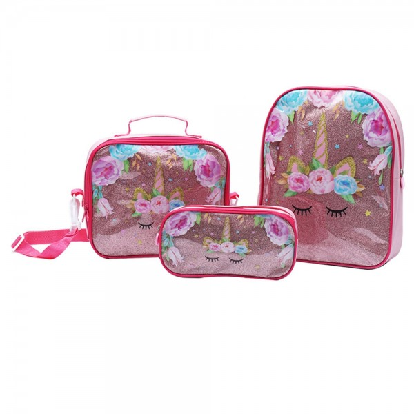 Chic Kids Unicorn Backpack Sets Bling Bling Oxford Durable School Bookbag with Lunch Bag Pencil Case