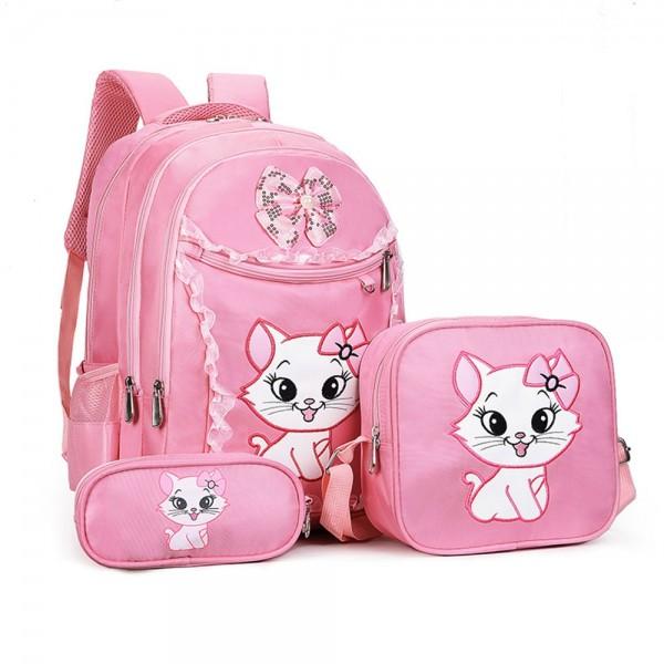Cute Cat Printing Lace Backpack Lightweight Princess School Bag Kids Bookbag Handbag Pen Bag Set for Primary Girls
