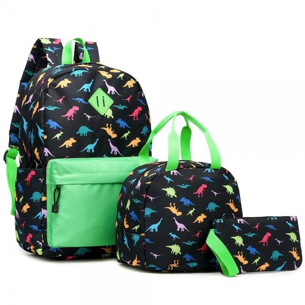 Kid's Dinosaur 3 in 1 Backpack Set Lovely Durable Bookbag Lunch Box & Pencil Case