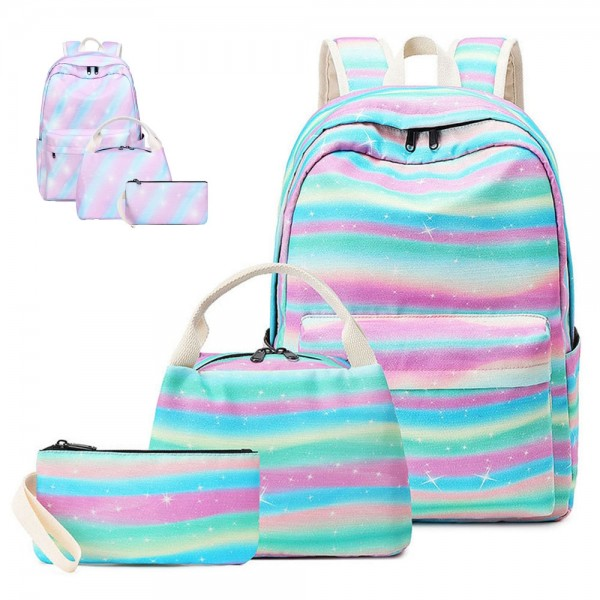 Rainbow Backpack Set for Middle School Cute Girls Bookbag Lunch Bag & Pencil Case