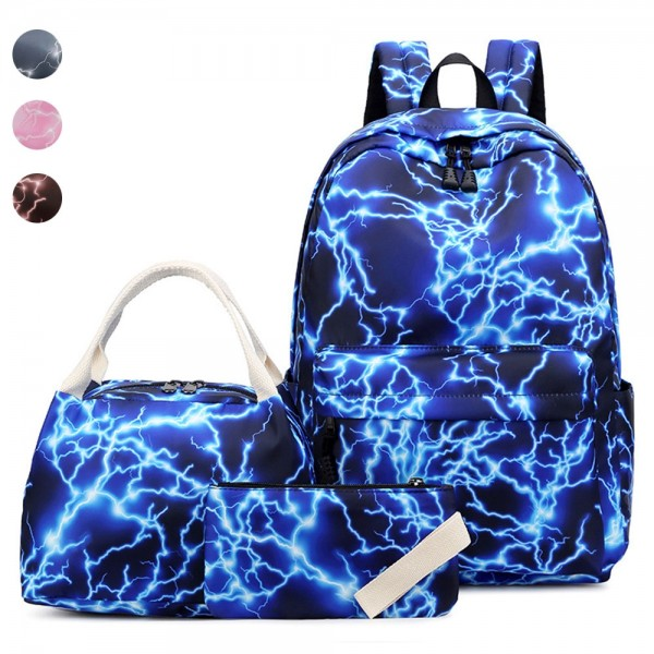Fashion Backpack Set for Middle School Girl Galaxy Prints School Bookbag with Lunch Bag Pencil Case