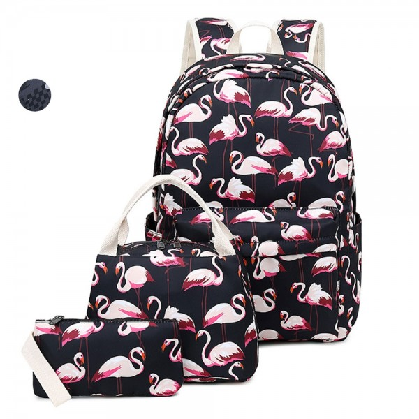 Cute School Backpacks for Girls Flamingo Teens Bookbags with Insulated Lunch Box Pencil Case Schoolbags Casual Daypack 3 in 1