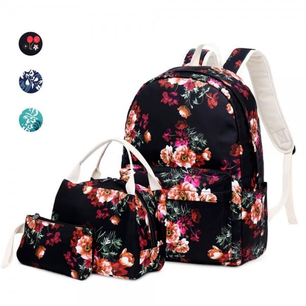 Teens School Backpack Set Ethnic Floral School Bookbag Set Lightweight 14