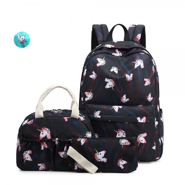 Unique Unicorn School Backpack Set for Teens Casual Travel Daypack Lightweight Schoolbag with Lunch Bag