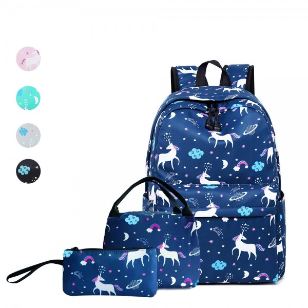 Unicorn School Backpack for Teens Lightweight Boys Girls Bookbags Cute Backpacks with Lunch Box Pencil Case