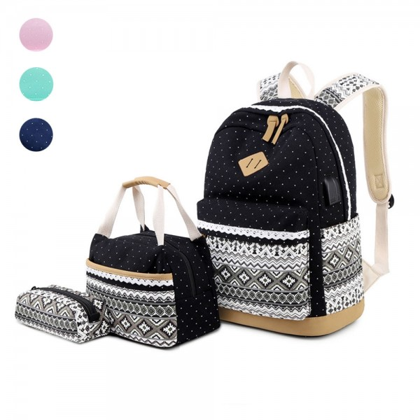 Bohemian Style Canvas 3 Pieces Schoolbag for Girls Dot Backpack Set Lightweight Travel Daypack for Middle School College