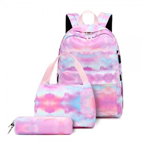Large Capacity USB Backpack for Girls Trendy Lightweight Bookbag Daypack with Lunch Box Pencil Case
