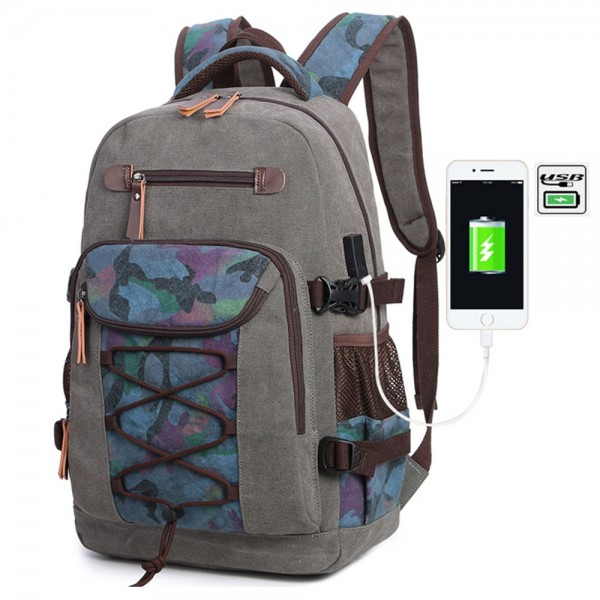 Men's Unique Washed Canvas Travel Backpack with Charging Port