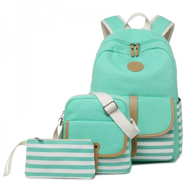Backpack with Lunch Bag For Teen Girls & Boys Stripes Book Bag & Pencil Case