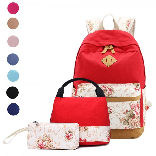 School Backpacks For Teen Girls Floral Backpack Sets Canvas Bookbag with Lunch Bag Pencil Case
