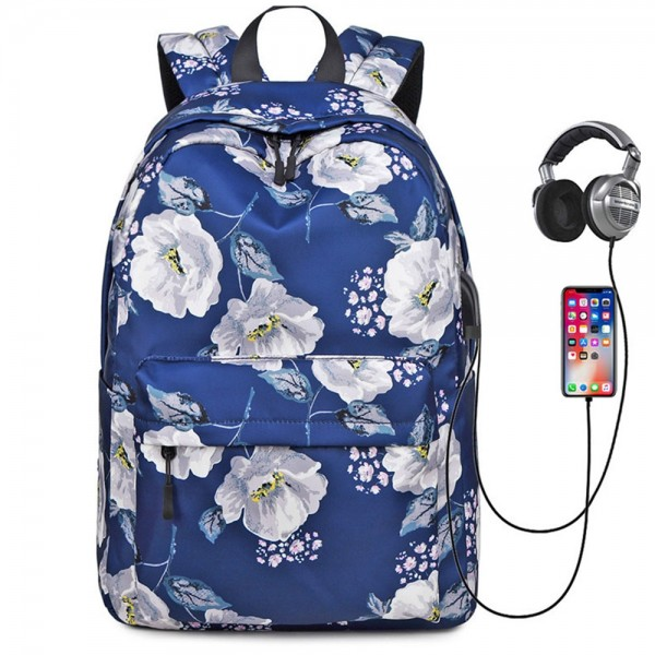 New Arrival Floral Backpack with USB Charging Port Nylon Durable Outdoor Travel Bag for Girls