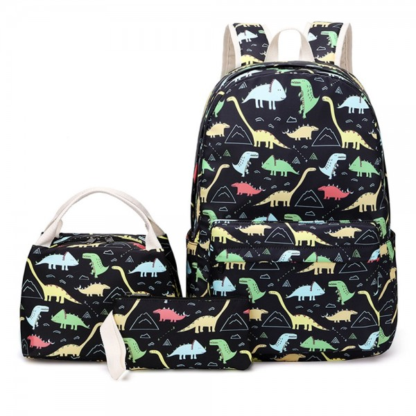 Cute Dinosaur Backpack with Lunch Box Kids' Back to School Essential 3 Pieces