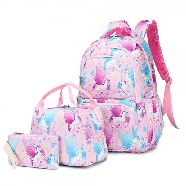 Kid's Unicorn Backpack for Elementary School Cute Bookbag with Lunch Box Pencil Case
