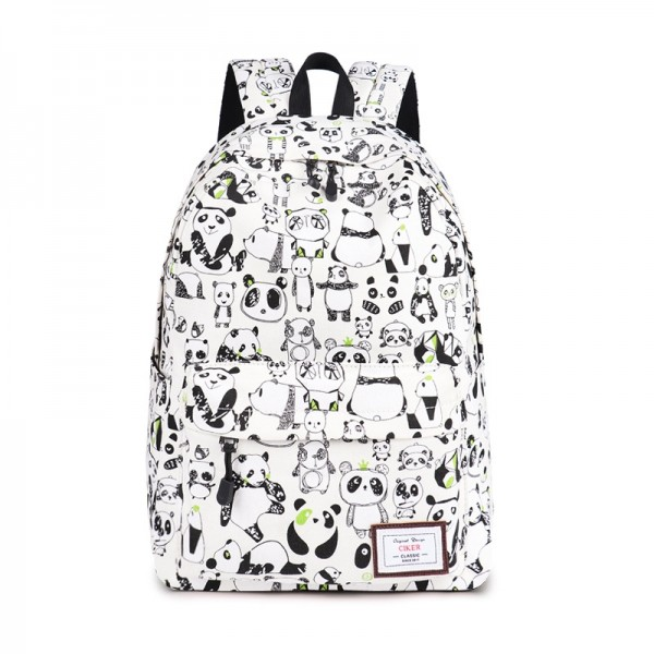 Lovely Panda Printed Waterproof Backpack with Laptop Compartment