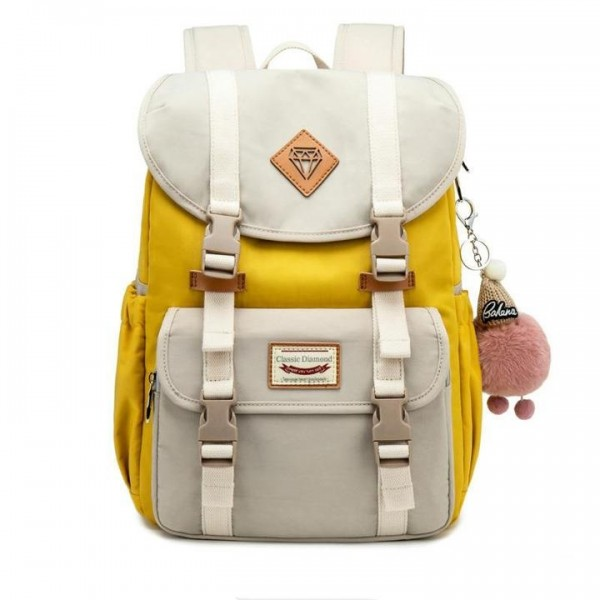 Sweet Fashion Canvas Backpack For College Contrast Color Travel Bag for Girls ZBP812176