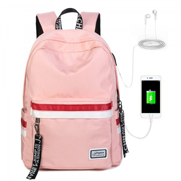 Pink Backpacks For School, Girls Book Bags Travel Backpack with USB Charging Port