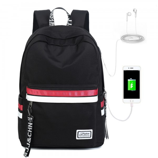 Black Backpacks For School Book Bags Travel Laptop Backpack with USB Charging Port