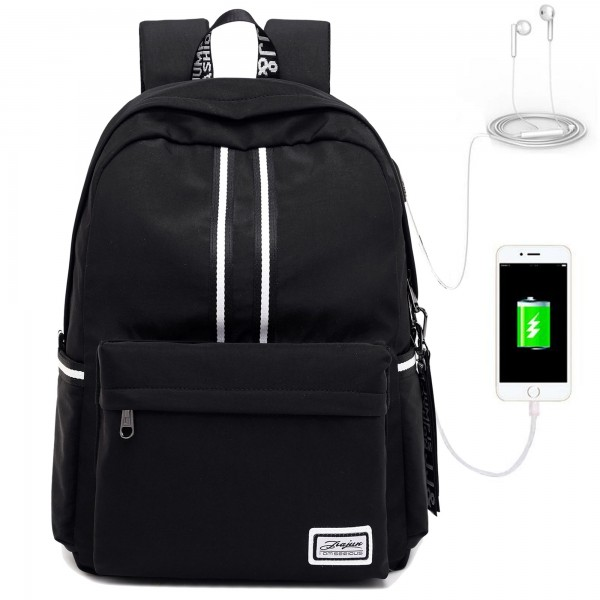 Teenages' Fashion Waterproof Backpack with USB Charging Port Fits 16