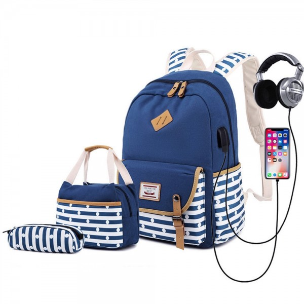 Classical Stripe Canvas Backpack Set Large Capacity Casual School Bookbag Travel Bag with USB Charger